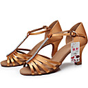 preiswerte Latein Schuhe-Damen Schuhe für den lateinamerikanischen Tanz / Ballsaal Satin Sandalen Strass / Schnalle Maßgefertigter Absatz Maßfertigung Tanzschuhe Schwarz / Braun / Wildleder / Leistung