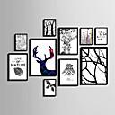 preiswerte Gerahmte Kunst-Abstrakt Blumenmuster/Botanisch Tier Gerahmtes Leinenbild Gerahmtes Set Wandkunst,PVC Stoff Schwarz Kein Passpartout Mit Feld For Haus