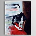 tanie Obrazy: motyw ludzi-Hang-Malowane obraz olejny Ręcznie malowane - Ludzie Nowoczesny Naciągnięte płótka / Rozciągnięte płótno