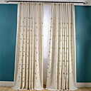 cheap Curtains Drapes-Rod Pocket Grommet Top Tab Top Double Pleat Pencil Pleat Two Panels Curtain Neoclassical Country, Embroidery Living Room Linen/Polyester