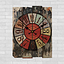 cheap Rustic Wall Clocks-Traditional Country Retro Floral/Botanicals Characters Music Wall ClockRound 30*40CM Indoor/Outdoor Clock