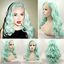 cheap Synthetic Lace Wigs-pastel hair soft wave fashion mint green heat resistant synthetic lace front wigs for women sexy lindsay lohan s green wig new hot hairstyle