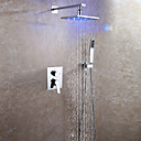 cheap Vanity Lights-Shower Faucet - Contemporary Chrome Wall Mounted Ceramic Valve Bath Shower Mixer Taps / Brass / Two Handles Three Holes