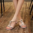 cheap Women's Sandals-Women's Shoes Glitter / Customized Materials Spring / Summer Novelty / Club Shoes Sandals Low Heel Open Toe Buckle Gold / Silver