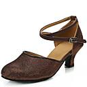 baratos Sapatos de Dança Moderna-Mulheres Sapatos de Dança Latina Paetês Sandália Salto Robusto Não Personalizável Sapatos de Dança Dourado / Prata / Castanho Escuro