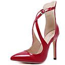 baratos Sapatos de Salto-Mulheres Sapatos Couro Ecológico Primavera Saltos Salto Agulha Dedo Apontado Presilha Preto / Vermelho / Social