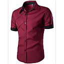 cheap Wedding Decorations-Men's Business / Casual Cotton Slim Shirt - Color Block Classic Collar / Short Sleeve