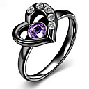 cheap Rings-Women's Ring - Stainless Steel, Zircon, Cubic Zirconia Heart, Love European, Fashion 6 / 7 / 8 Gold / Matt black For Party / Daily / Titanium Steel