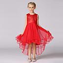 abordables Vestidos de Niña-Vestido Chica de Un Color Algodón Poliéster Sin Mangas Verano Rojo Rosa Beige Morado Azul Real