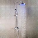 povoljno Slavine za tuš-Suvremena Zidne slavine Tuš uključen Termostatički LED Brass ventila Dvije ručke tri rupe Chrome , Slavina za tuš