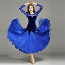 저렴한 볼룸 댄스 웨어-볼륨 댄스 드레스 여성용 성능 레이스 / 튤 / 벨벳 레이스 / 스플리싱 긴 소매 내츄럴 사용자 메뉴얼 1개 / 드레스