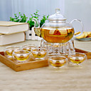 cheap Kitchen Tools-8pcs Glass Teapot Set Heatproof ,  8.5*8.5*12.5
