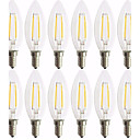 cheap LED Filament Bulbs-12pcs 2W 180lm E14 LED Filament Bulbs C35 2 LED Beads COB Decorative Warm White 220-240V