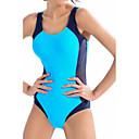 رخيصةأون إضاءات الأسقف-مقصوص ألوان متناوبة, ملابس السباحة قعطة واحدة شورتات قصيرة أزرق مع حمالة رياضي نسائي