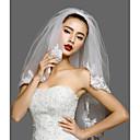 preiswerte Hochzeitsschleier-Zweischichtig Spitzen-Saum Hochzeitsschleier Gesichts Schleier / Ellbogenlange Schleier mit Applikationen Spitze / Tüll / Klassisch