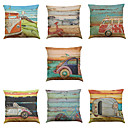 cheap Slipcovers-7 pcs Linen Pillow Cover Pillow Case, Solid Colored Novelty Textured Casual Modern Contemporary Office / Business