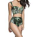 billige Taklamper-Dame Med stropper Bikini - Trykt mønster, Høy Midje Planter Tropisk blad