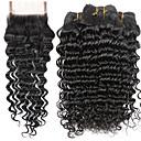 preiswerte Lolita Accessoires-4 Bündel Indisches Haar Wogende Wellen Unbehandeltes Haar Menschenhaar spinnt Menschliches Haar Webarten Haarverlängerungen