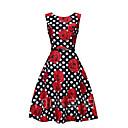 tanie Ramki na podpisy-Damskie Vintage Spódnica Sukienka - Groszki / Kwiatowy wzór Do kolan / Lato / Jesień / Wzory kwiatów