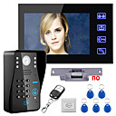 cheap Video Door Phone Systems-Touch Key 7 Lcd RFID Password Video Door Phone Intercom System Kit Electric Strike Lock Wireless Remote Control unlock