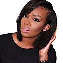 cheap Human Hair Wigs-Human Hair Glueless Lace Front Lace Front Wig Brazilian Hair Straight Wig Bob Side bangs 130% Density with Baby Hair Natural Hairline African American Wig 100% Hand Tied Women's Short Medium Length
