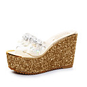baratos Botas Femininas-Mulheres Sapatos Couro Ecológico Verão Chanel Sandálias Caminhada Salto Plataforma Ponta Redonda Pedrarias Dourado / Prata / Calcanhares