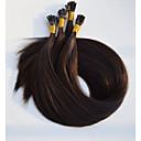 billige Bakeformer-Fusjon / I-tipp Hairextensions med menneskehår Rett Ekte hår Mørkebrun Burgunder
