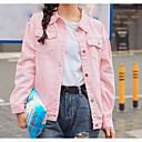 povoljno Anime kostimi-Žene Dnevni Nosite Classic & Timeless Proljeće / Jesen Normalne dužine Jakna, Jedna barva Kragna košulje Dugih rukava / Classic Style Blushing Pink
