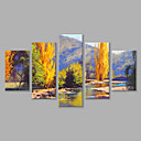 cheap Landscape Paintings-Oil Painting Hand Painted - Landscape Modern Stretched Canvas / Five Panels