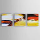 baratos Pinturas a Óleo-Pintura a Óleo Pintados à mão - Abstrato Modern Incluir moldura interna / 3 Painéis / Lona esticada