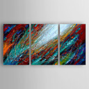 cheap Oil Paintings-Hand-Painted  Abstract Set of  3 Canvas Oil Painting With Stretcher For Home Decoration Ready to Hang
