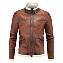 cheap Costume Wigs-Men's Street chic Plus Size Cotton Slim Leather Jacket - Solid Colored, Oversized Stand