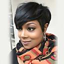 halpa Suojuksettomat-Ihmisen hiukset Capless Peruukit Aidot hiukset Suora Pixie-leikkaus Otsatukalla Sivuosa Lyhyt Koneella valmistettu Peruukki Naisten