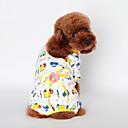 baratos Roupas para Cães-Gato Cachorro Camiseta Pijamas Roupas para Cães Desenho Animado Amarelo Azul Rosa claro Algodão Ocasiões Especiais Para animais de