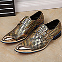 cheap Men's Slip-ons & Loafers-Men's Novelty Shoes Cowhide Spring / Fall Comfort / British Oxfords Gold / Black / Silver