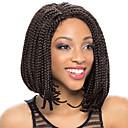 halpa Synteettiset peruukit verkolla-Synteettiset pitsireunan peruukit Synteettiset hiukset Luonnollinen hiusviiva / Sivuosa / Afro-amerikkalainen peruukki Musta Peruukki Naisten Lyhyt Lace Front