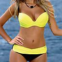 levne Vestavná světla-Dámské Bandeau Jednobarevné Žlutá Růžová Bikiny Plavky - Pevná barva Čistá barva M L XL