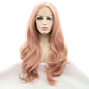 cheap Synthetic Lace Wigs-Synthetic Lace Front Wig Natural Wave Middle Part Synthetic Hair Heat Resistant / Natural Hairline Rose Pink Wig Women's Lace Front