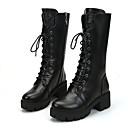 זול מגפי נשים-בגדי ריקוד נשים נעליים PU אביב / סתיו נוחות מגפיים שטוח שחור