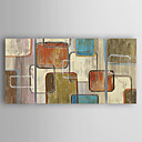 cheap Oil Paintings-Oil Painting Hand Painted - Abstract Modern Canvas Three Panels