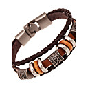 cheap Bracelets-Unisex Layered Leather Bracelet - Leather Friends Vintage, Multi Layer Bracelet Brown For Anniversary Gift Valentine