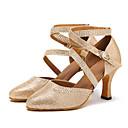 preiswerte Latein Schuhe-Damen Schuhe für modern Dance Kunstleder Sandalen / Absätze Strass / Schnalle Maßgefertigter Absatz Maßfertigung Tanzschuhe Gold / Silber