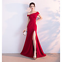 cheap Jewelry Sets-A-Line Off Shoulder Sweep / Brush Train Satin Formal Evening Dress with Split Front by LAN TING Express