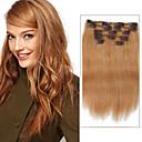 billige Syntetisk hairextension-Klipp På Hairextensions med menneskehår Rett Hairextensions med menneskehår Ekte hår Dame - Jordebær Blond