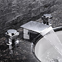 abordables Offres de la Semaine-Robinet lavabo - Jet pluie Chrome Diffusion large Deux poignées trois trousBath Taps / Laiton