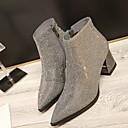 baratos Botas Femininas-Mulheres Sapatos Flanelado Primavera / Outono Conforto Botas Salto Robusto Preto / Cinzento