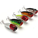 cheap Fishing Lures & Flies-5 pcs Hard Bait Popper Fishing Lures Lure Packs Popper Hard Bait Hard Plastic Plastic Sea Fishing Bait Casting Lure Fishing
