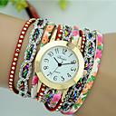 preiswerte Körperschmuck-Damen Armband-Uhr Schlussverkauf PU Band Blume / Modisch Schwarz / Weiß / Blau / Ein Jahr / Tianqiu 377