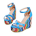 cheap Women's Sandals-Women's Shoes PU(Polyurethane) Summer Comfort / Ankle Strap Sandals Walking Shoes Wedge Heel Open Toe Buckle Black / Fuchsia / Blue