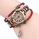 preiswerte Pendelleuchten-Damen Armband-Uhr Quartz Cool Leder Band Analog Freizeit Schwarz / Weiß / Blau - Kaffee Braun Rot